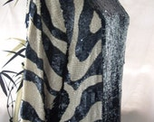 vintage 50s navy blue white  zebra silk shirt heavily sequin beaded  med-lg vintage art deco abstract