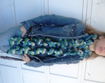 Blue Scarf, curly, long, crochet scarf, beach colors--blue, green, and tan scarf