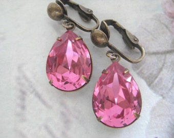 Swarovski Estate Style Clip On Earrings Pink Vintage Inspired Dangle Earrings