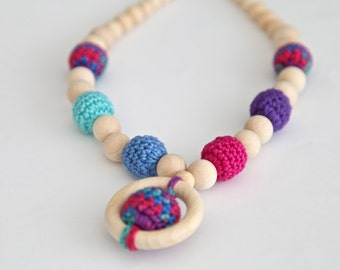 Dark bright multicolor nursing necklace. Mammy and baby teething crochet necklace. Girls beaded necklace.