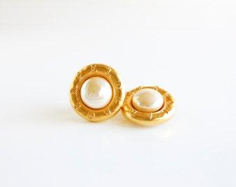 Vintage Karl Lagerfeld Faux Pearl Button Earrings