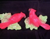 Vintage Chalkware Birds Set Red Cardinals, Retro Decor, 1970s Wall figurine, Garden Plaque, Miller Studios, Garden Decor