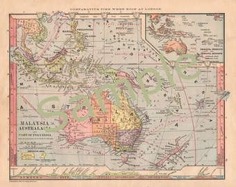 Printable 1880s Antique Map of Australia, Malaysia, New Zealand Map Instant Digital Download Color Home Library Wall Art Decor