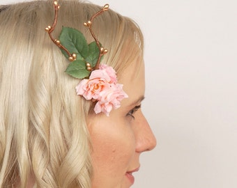 Woodland Flower Comb, Wedding Hair Piece, Bridal Hairpiece, Floral Head Piece, Pink Rose Headpiece, Rustic Hair Flowers, Garden Wedding Comb