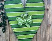 St Patrick's Day Green Striped Heart With Shamrock Clover Screen Door Hanger