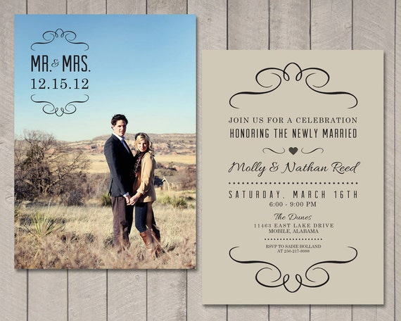 wedding reception only invitations modern wedding reception invitation by vintagesweetdesign 9905
