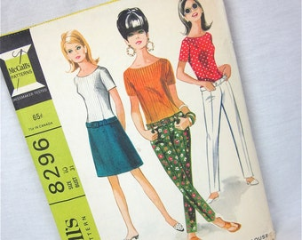 Vintage 60s Hip Hugger Pants, Skirt and Blouse Sewing Pattern, McCalls 8296