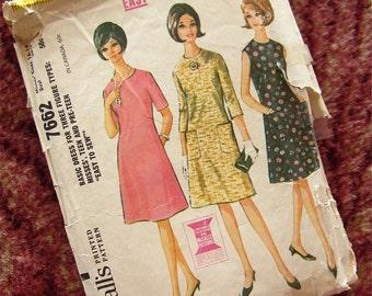 Vintage 60s Basic Dress Sewing Pattern, McCalls 7662