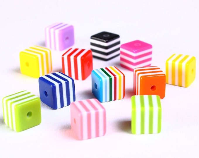 8mm mixed color striped square beads - 8mm cube beads (887) - Flat rate shipping