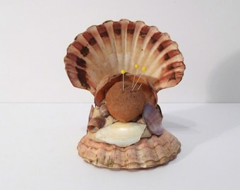 Shell Pincushion Vintage Seashell Hat pincushion Sewing Room Bedroom sea shell covered nautical art Seamstress Hat Collector Scallop 1950s