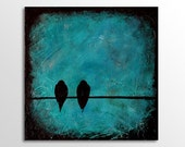 Birds on a wire - 8x8 Print - Wall Decor - Acrylic Painting - Bird Painting - Textured Painting