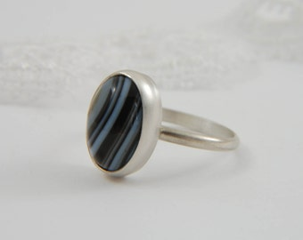 Black Banded Agate Ring Modern Ring Natural Stone Ring 925 Silver Ring Artisan Ring Handmade Silver Ring Banded Agate Jewelry
