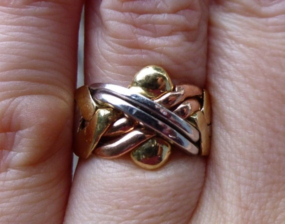 Rare Tri Colored 14kt Gold Turkish Puzzle Ring Wedding Ring