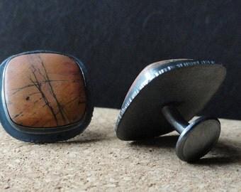 Jasper Cufflinks Silver Cufflink With Brown Jasper In Oxidized Sterling Fine Jewelry