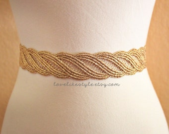 Gold  Metallic Lace with Champagne Satin Sash , Bridal Sash, Bridesmaid Sash , Flower Girl Sash,GSH-31
