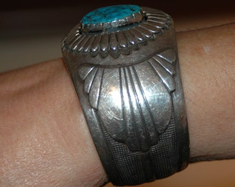 SOLD Please Do Not Buy Exquisite Vintage Navajo Morenci Turquoise Bracelet - Hallmarked -  91 grams