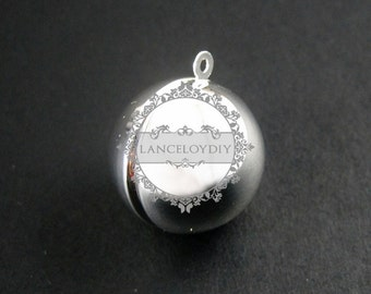 5pcs 20mm round silver brass ball photo locket pendant charm wholesale 1112007