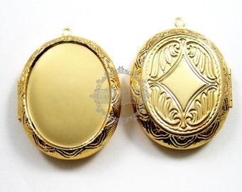 5pcs 30x40mm gold plated brass oval big bezel tray setting photo locket pendant charm DIY supplies 1126005