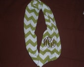 Chevron monogrammed knit infinity scarf single loop