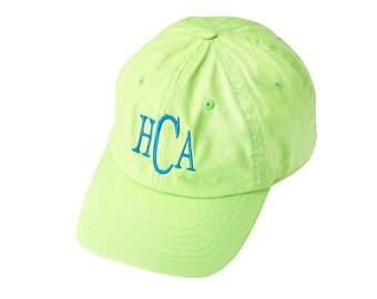Soft cotton twill ball cap in great summer colors   Monogrammed in your choice of font and color