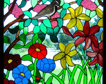 Sparrow Floral Stained Glass Framed Window Panel, Lilacs, Lilys, And Other  Flowers,
