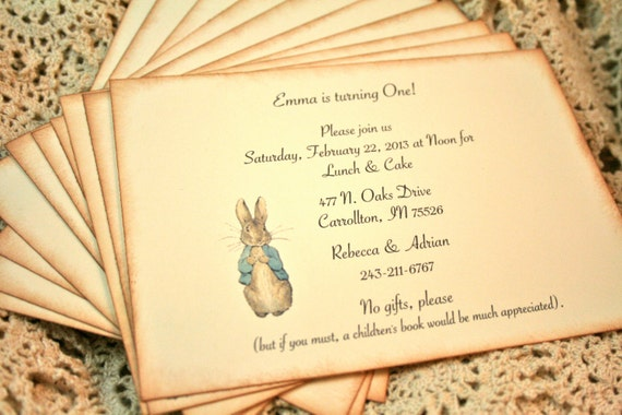 Items Similar To Birthday Party Invitations   Baby Shower Invitations   Peter  Rabbit  Set Of 12   Vintage Baby Shower   Birthday Party On Etsy