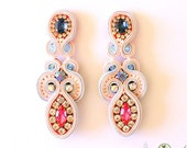 Soutache Earrings- Swarovski Crystal Statement Earrings - Nude Collection-  Bridal Earrings