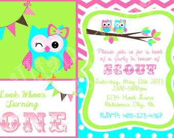 Owl Birthday Invitation - Look Whoo's Turning - PRINTABLE Invitation and Thank You Card - Owls