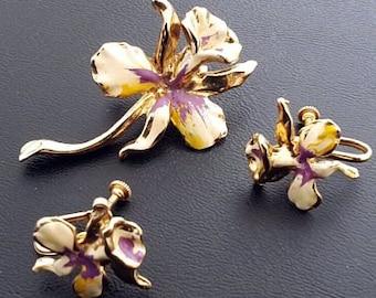 Orchid Flower Brooch Earring Demi Set Purple Yellow Enamel Gold Metal Mid Century Vintage
