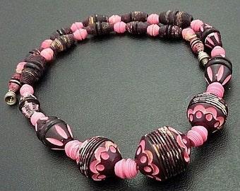 "Galalith Art Deco Necklace French Bakelite Pink & Black Carved Beads Floral Design 17""  Vintage"