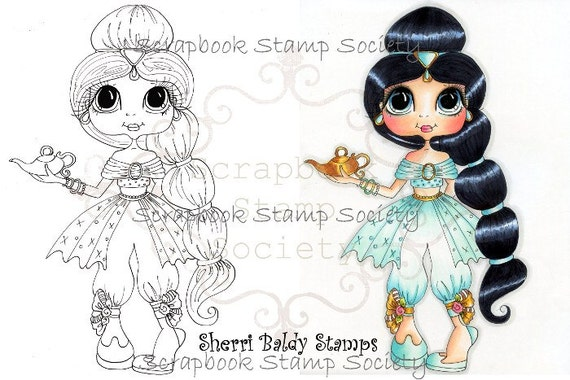 INSTANT DOWNLOAD Digital Digi Stamps Big Eye Big Head Dolls Digi  Princess Jasmine By Sherri Baldy