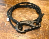 Nautical bracelet. Sailing line, Wichard cold-forged Ti-black snap hook.