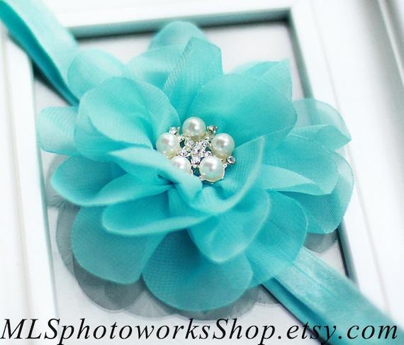 tiffany blue wedding flower girl headband