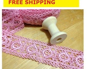 """Embroidered Lace Trim 5 Yards, Embroidered Floral Lace, Hot Pink Embroidered Lace Trim, 1.25"""" or 3cm wide No. L2 FREE SHIPPING"""