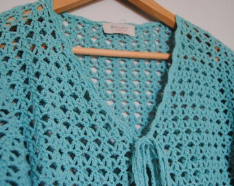 Lovely turquoise crochet cardigan rebeca jumper