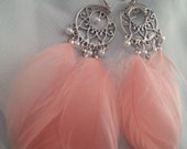 HOLIDAY PRICING Soft Pale Pink feather and silver chandelier earrings with heart and pearl accents