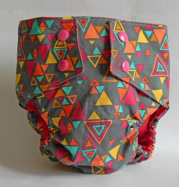 Neon Triangles Water Resistant Diaper Cover Available in Large