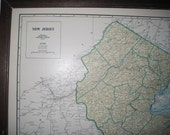 Vintage 1942 New Jersey and New Hampshire / Vermont Map