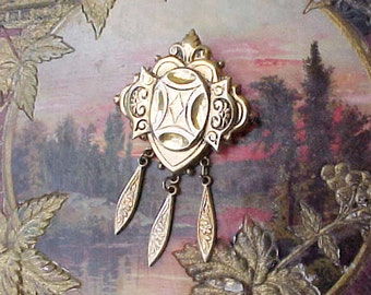 Charming Vintage Victorian Style Renaissance Revival Brooch with Dangles