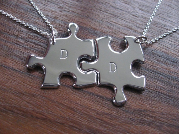 Best Friends Silver Puzzle Pendant Necklace