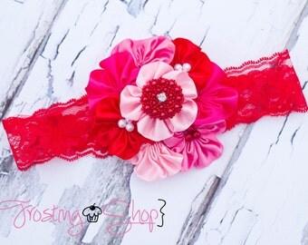Be Mine--- Satin Cluster Headband- Valentine's Day