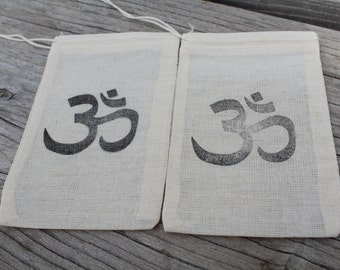 Set of 10 Hand stamped Om Party Favor Muslin Bags 100% organic made in america