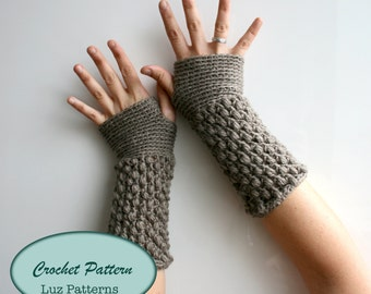 Crochet Patterns, girl and women fingerless glove pattern, wrist warmer crochet pattern (124) Instant download crochet pattern