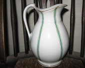 "IRONSTONE PITCHER VASE 7"" Tall Vintage Gold Trim  Green and Gold Stripes Milk Water epsteam Cream"