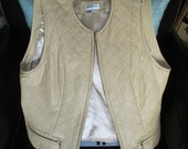 Reduced--Leather Neiman Marcus Vest -- Pale Gold with Satin Lining, Quilted Back