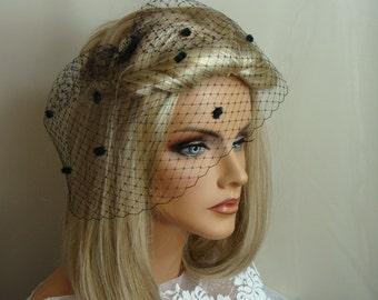 Black Chenille Dot Birdcage Veil 8 inch