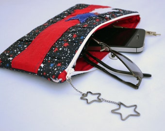 Stars clutch, clutch bag, clutch wallet, clutch purse, pleated clutch, zippered pouch, summer clutch, wristlet, 4th of july bag, makeup bag