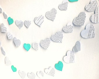 paper hearts garland, Valentines day decor, vintage printed paper mint wedding garland, 10 ft handmade mint wedding shower decor