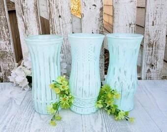 Aqua SHABBY CHIC Glass Painted Vases, Set of 3 Large