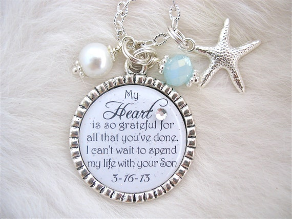 ... pendant necklace Beach Jewelry Mother in Law Thank you Wedding BRIDE